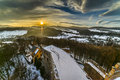 Sunset Over Grodno Castle In Owl Mountains Royalty Free Stock Photo - 86222045