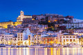 Ibiza Dalt Vila Downtown At Night With Light Reflections In The Water, Ibiza, Spain. Royalty Free Stock Photo - 86228355