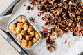 Peeled And Crust Chestnuts On Tray Stock Photography - 86228442