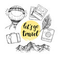 Hand Drawn Vector Illustration. Let`s Go To Travel. Tourism And Royalty Free Stock Photo - 86228765