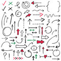 Isolated Doodle Arrows Set Red, Black And Green, Hand Drawn Royalty Free Stock Images - 86238859