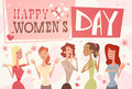 8 March International Women Day Greeting Card Retro Poster Royalty Free Stock Photography - 86239377