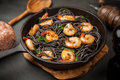 Black Pasta With Shrimps Royalty Free Stock Photography - 86252077