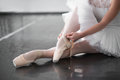 Ballet Dancer Legs In Pointe Shoes Closeup Stock Photography - 86257142