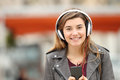 Girl Listening Music And Looking At You Royalty Free Stock Image - 86261576