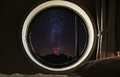 Round Circle Window Frame With Night Sky Full Of Stars With Milky Way Royalty Free Stock Photo - 86273025
