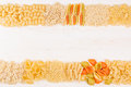 Pasta Background Decorative Border Of Assortment Different Kinds Italian Macaroni. Royalty Free Stock Photo - 86282815