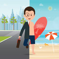 Businessman In Suit On City View And On The Beach Stock Photo - 86287170