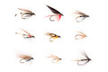 Fishhooks Or Trout Flies In 3x3 Grid Cutout Stock Image - 86291151