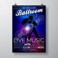 Vector Ballroom Night Party Flyer Design With Couple Dancing Tango On Dark Background Royalty Free Stock Image - 86292256