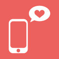 Cellphone With With Talk Bubble And Heart Shape. Flat Vector Illustration. Love Message Icon. Royalty Free Stock Image - 86293656