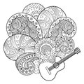 Guitar Coloring Book Vector Illustration Royalty Free Stock Photography - 86294357