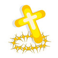 Cross And Crown Of Thorns On White Background Royalty Free Stock Photo - 8639295