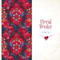 Vector Floral Seamless Border In Red Colors. Royalty Free Stock Photography - 86300517