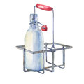 Vintage Farmhouse Kitchen Metal Holder Rack With Bottles Of Milk. Royalty Free Stock Photography - 86318517