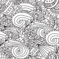 Coloring Pages For Adults.Decorative Hand Drawn Doodle Nature Ornamental Curl Vector Sketchy Seamless Pattern. Stock Image - 86319981