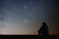 Man Looking At The Stars Royalty Free Stock Images - 86325379