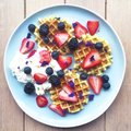 Breakfast With Waffles And Berries Royalty Free Stock Photo - 86328395