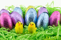 Easter Eggs On Green Paper With Chicken Stock Photo - 86331000