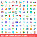 100 Electronic Device Icons Set, Cartoon Style Royalty Free Stock Images - 86336359