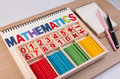 Educational Kids Math Toy Wooden Board Stick Game Counting Set In Kids Math Class Kindergarten. Stock Photo - 86347880