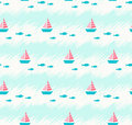 Seamless Summer Pattern With Boats And Fishes Royalty Free Stock Images - 86352419
