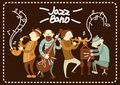 Jazz Band Playing On Saxophones And Piano Music Vector Poster Royalty Free Stock Image - 86353616