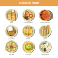 Mexican Food Cuisine Vector Icons For Restaurant Menu Stock Images - 86353724