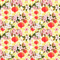 Red Chinese Lanterns In Spring Blossom - Sakura Flowers . Repeating Pattern With Golden Asian Ornament At Background Royalty Free Stock Image - 86395626