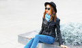 Fashion Portrait Young Woman Model Wearing A Black Rock Jacket Hat In City Stock Photos - 86398433