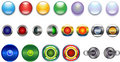 Buttons, Blue Red Yellow Green Violet Glassy Metal Stock Photo - 8640830