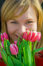 Nice Girl With Bouquet Of Tulips Royalty Free Stock Photography - 8648167