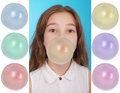 Girl Blowing A Big Bubble Gum Bubble Royalty Free Stock Image - 86404576