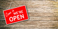 We Are Open Sign On Wooden Background Stock Photography - 86404662