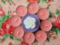 Pink Scented Candles With White Flower In The Middle Stock Image - 86411171
