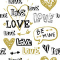 Vector Grunge Hand Drawn Valentine`s Day Seamless Pattern Royalty Free Stock Photo - 86414555