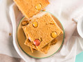 Festive Breakfast Flowers Peanut Butter Bownies. Top View Royalty Free Stock Image - 86431056