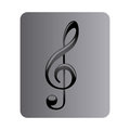 Gray Square Button With Sign Music Treble Clef Stock Images - 86448284