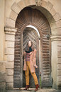 Girl Near Old Wooden Gate Stock Photo - 86452240