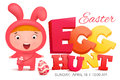 Girl In Pink Bunny Costume Finding Egg. Easter Card Template Royalty Free Stock Photo - 86531175