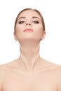 Woman With Arrows On Face Over White Background. Neck Lifting Co Royalty Free Stock Photography - 86531777