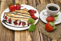 Crepes With Banana And Strawberries Stock Images - 86537794