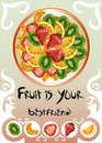 Plate With Different Fruits Royalty Free Stock Images - 86538359