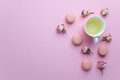 Green Tea And Pastel French Macarons Cakes On Pink Background. Dessert In A Garden. Flat Lay. Free Text Space. Royalty Free Stock Image - 86549856