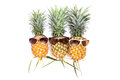 Pineapple With Sunglasses On White Background. Royalty Free Stock Photography - 86558257