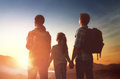 Family At Sunset Stock Photo - 86566540