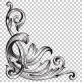 Isolate Corner Ornament In Baroque Style Stock Images - 86568344
