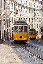 Vintage Yellow Tramway In Lisbon, Portugal Royalty Free Stock Photos - 86606698