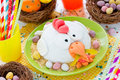 Easter Chicken Fondant Cake On Festive Decorated Table Stock Images - 86616994