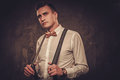 Sharp Dressed Man Wearing Suspenders And Bow Tie Royalty Free Stock Photography - 86620647